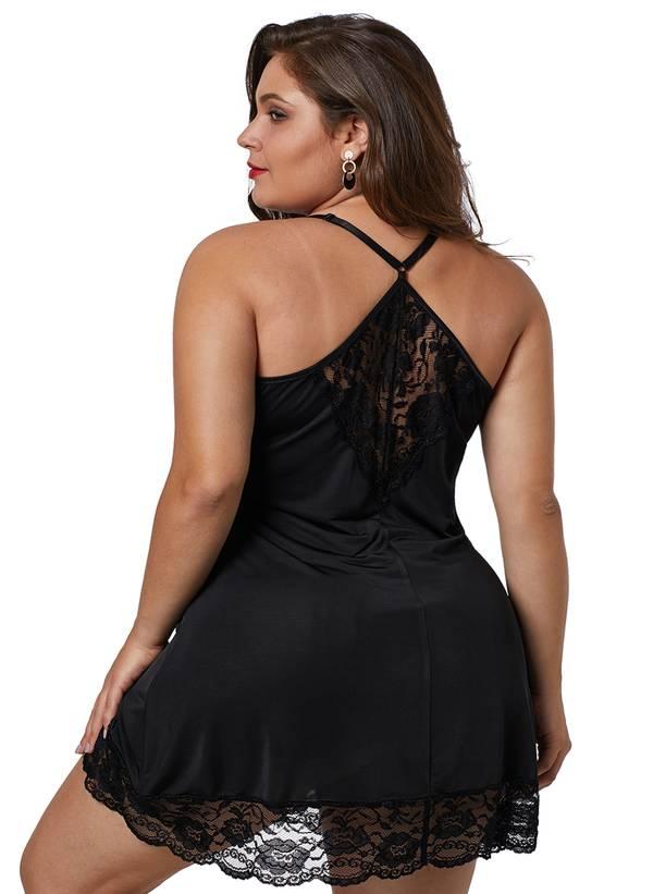 Μαύρο Babydoll με Δαντέλα Black-Venecia-Chemise-with-Lace-Trim-LC31145-2-2 Maniags