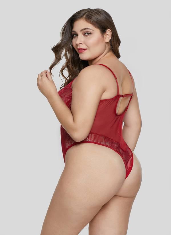 Κορμάκι Δαντέλας Κόκκινο Red-Sweet-Floral-Plus-Size-Teddy-Lingerie-LC32357-3-2 Maniags