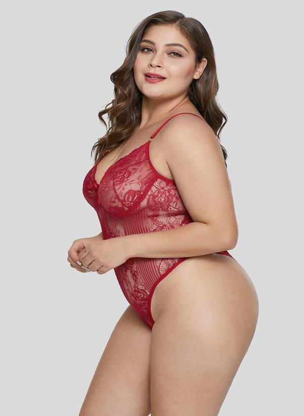 Κορμάκι Δαντέλας Κόκκινο Red-Sweet-Floral-Plus-Size-Teddy-Lingerie-LC32357-3-3 Maniags
