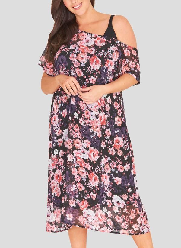 Φόρεμα Φλοράλ με Χαλαρό Ώμο Maniags
