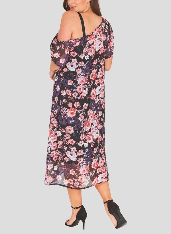 Φόρεμα Φλοράλ με Χαλαρό Ώμο havana_4 Maniags