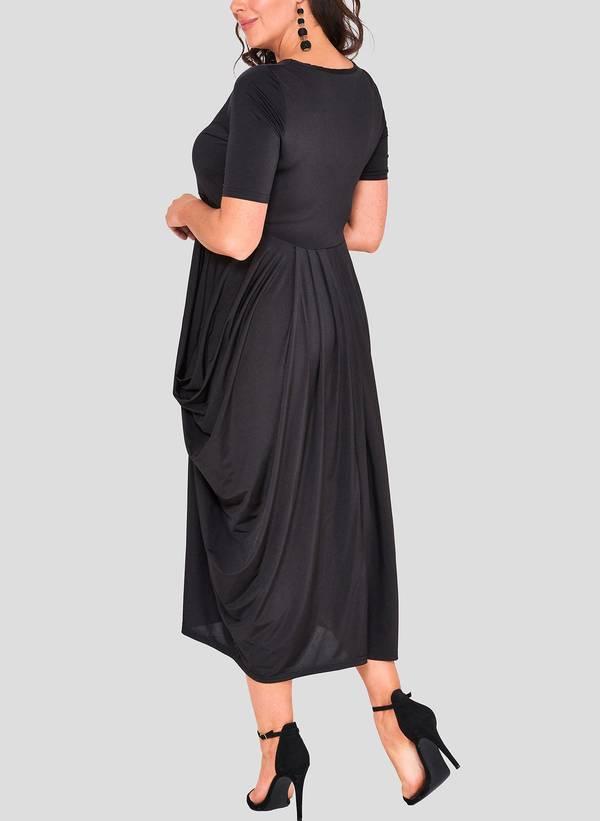 Φόρεμα Μαύρο Ντραπέ hawksheadB_1 Maniags
