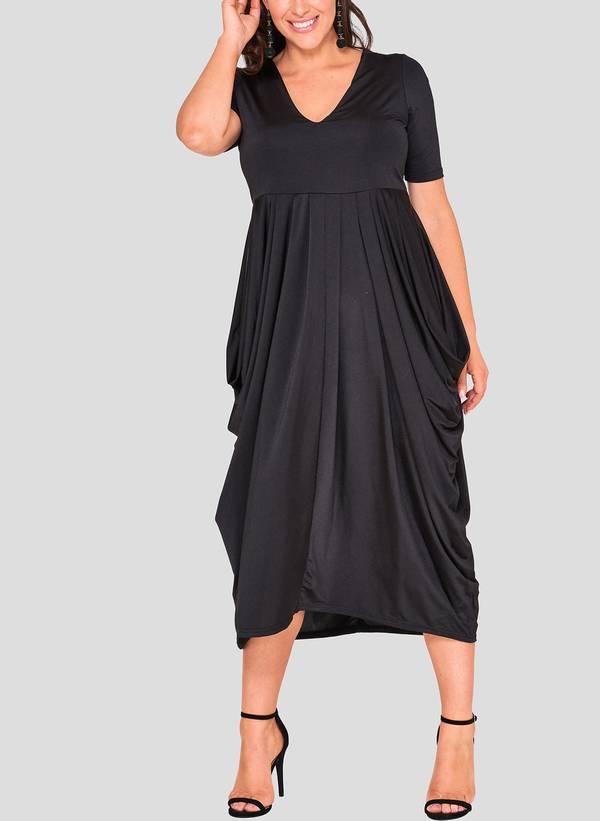 Φόρεμα Μαύρο Ντραπέ hawksheadB_2 Maniags