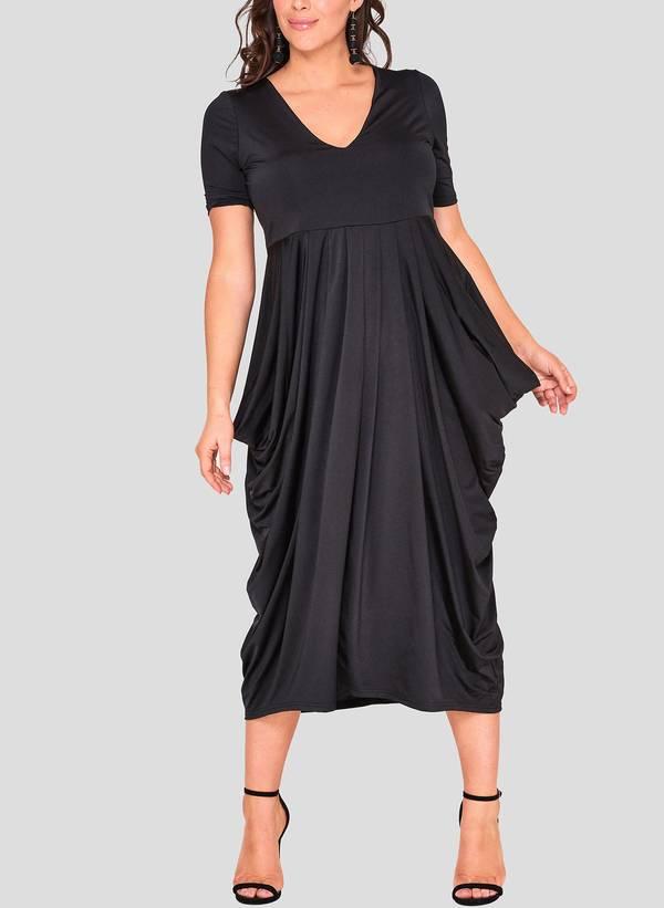Φόρεμα Μαύρο Ντραπέ Maniags