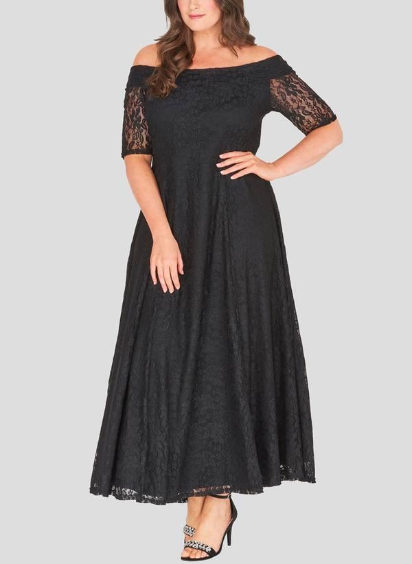 Φόρεμα Μαύρο Maxi Δαντέλα Maniags