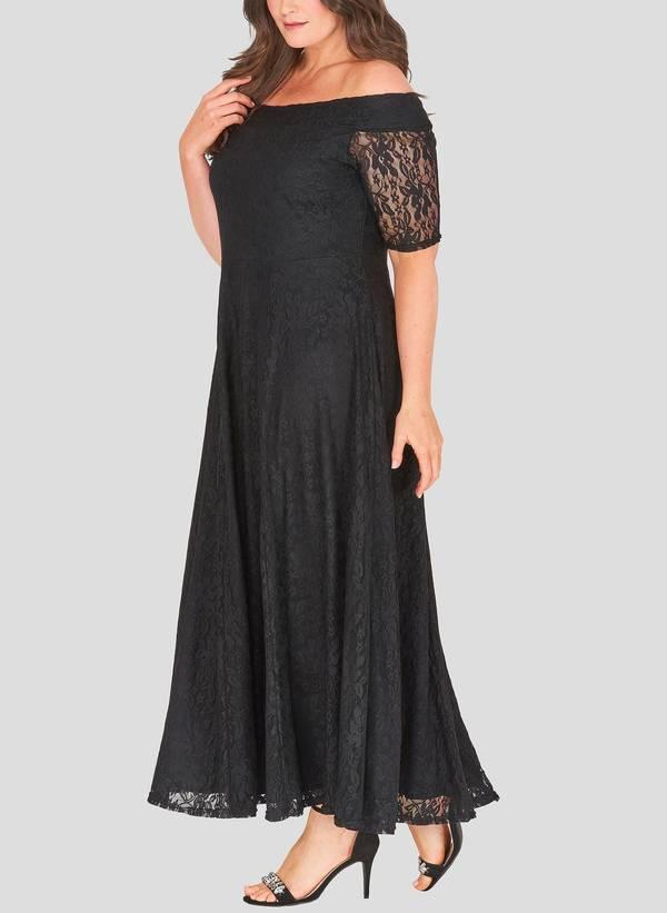 Φόρεμα Μαύρο Maxi Δαντέλα marbleB_3 Maniags