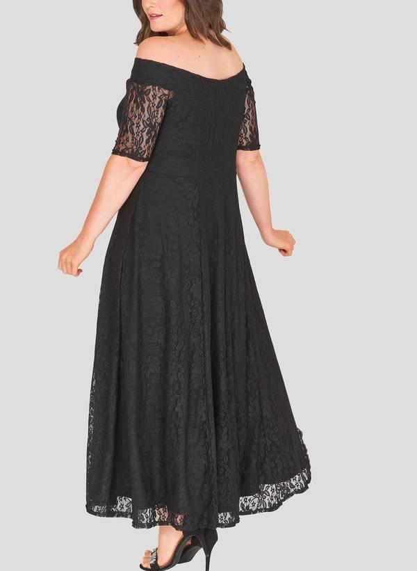 Φόρεμα Μαύρο Maxi Δαντέλα marbleB_4 Maniags