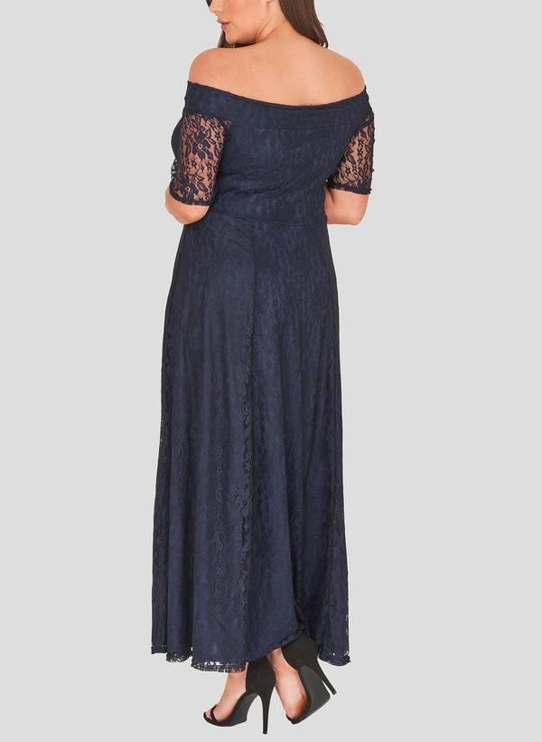Φόρεμα Navy Maxi Δαντέλα marble_4 Maniags