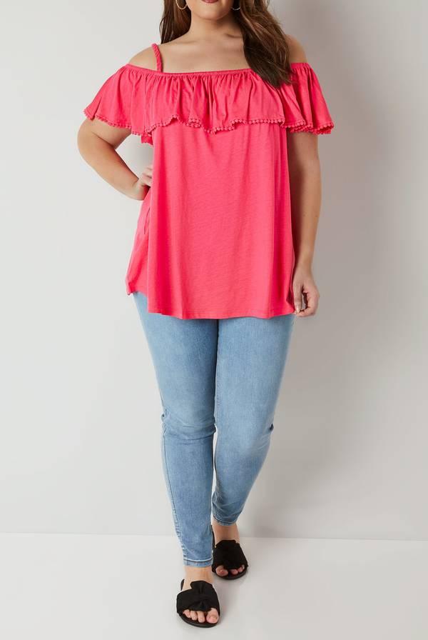 Μπλούζα Έξωμη Φούξια Bright_Pink_Longline_Frilled_Bardot_Top_132601_9cb7 Maniags