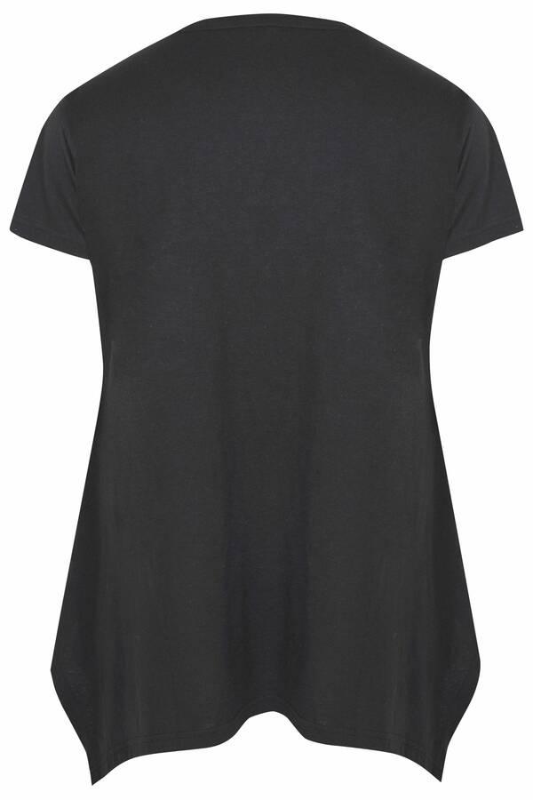 Μπλούζα Μαύρη με Τύπωμα Love 'Yours' Black_Hanky_Hem_T-Shirt_133184_79a6 Maniags