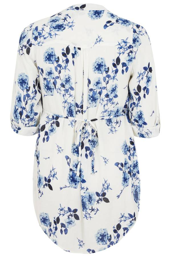 Πουκάμισο Μάο Γιακά White_Blue_Floral_Pintuck_Longline_Blouse_With_Beading_Detail_130250_31ce Maniags