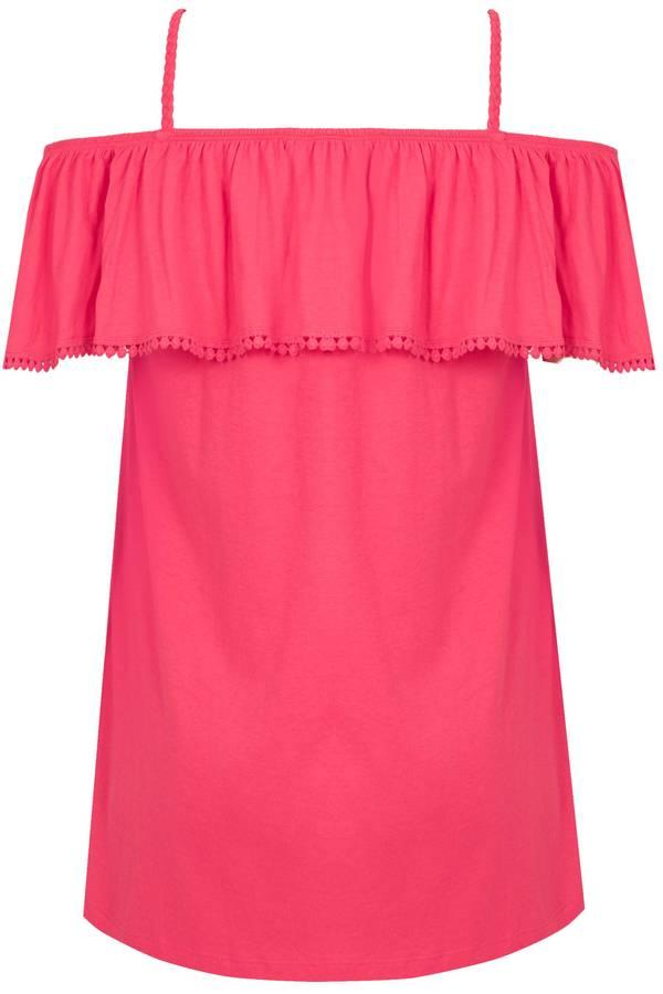 Μπλούζα Έξωμη Φούξια Bright_Pink_Longline_Frilled_Bardot_Top_132601_c3eb Maniags